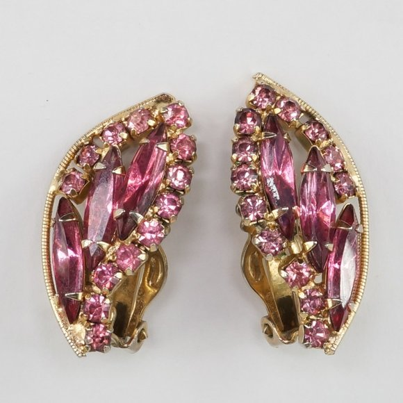 Vintage Jewelry - VINTAGE Weiss Clip On Earrings Pink Gold Signed
